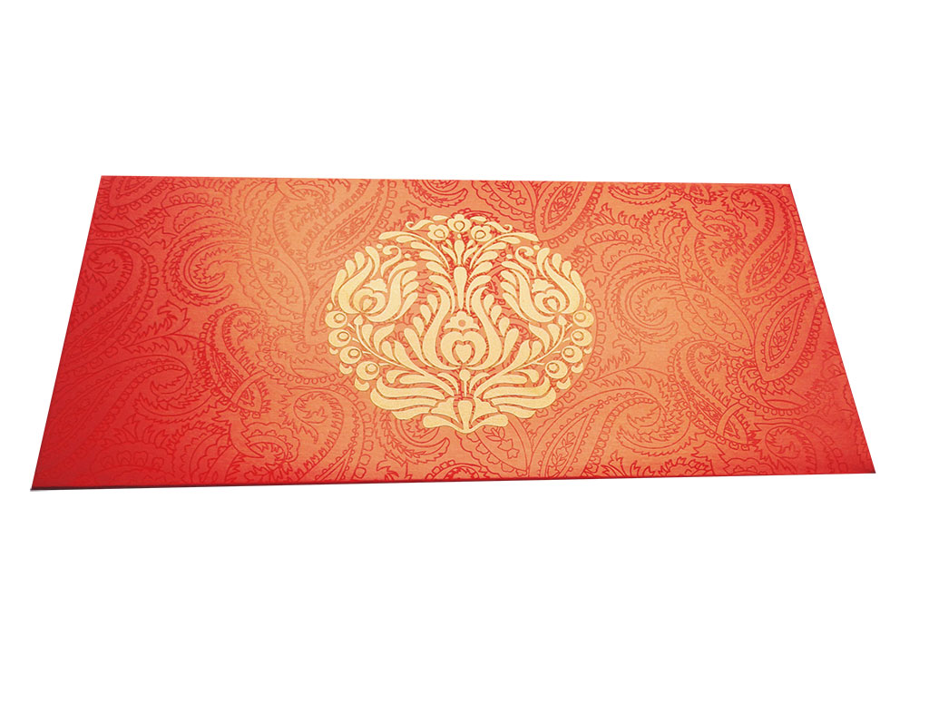 Front view of Classic Orange Money Envelope with Golden Crown Flower