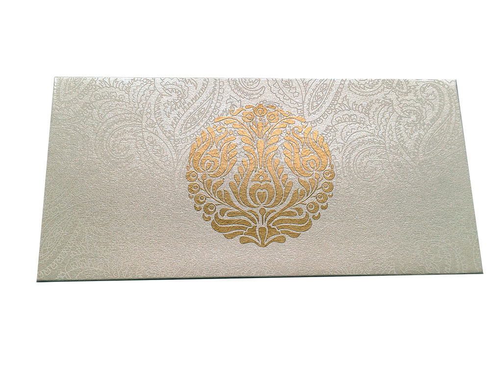 Front view of Pearl Ivory Money Envelope with Golden Crown Flower