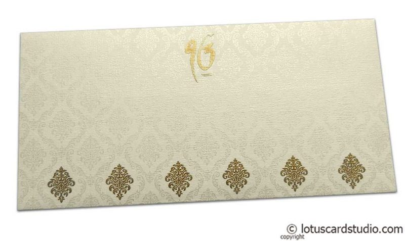 Front view of Damask Pattern Shagun Envelope in Ivory