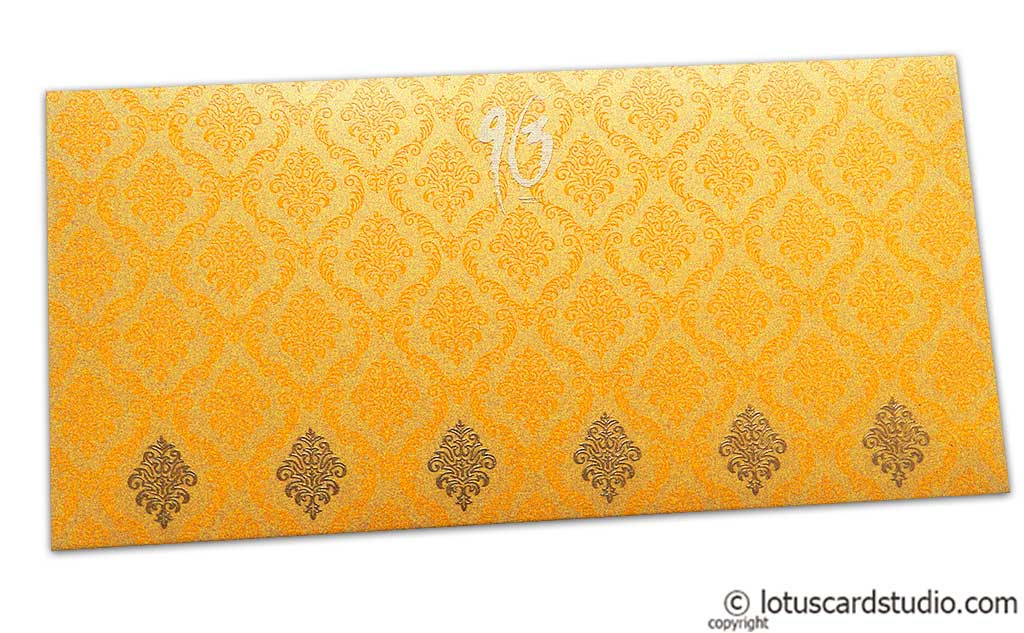 Front view of Damask Pattern Shagun Envelope in Rich Gold