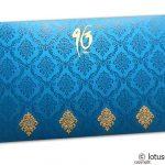 Back view of Damask Pattern Shagun Envelope in Imperial Blue