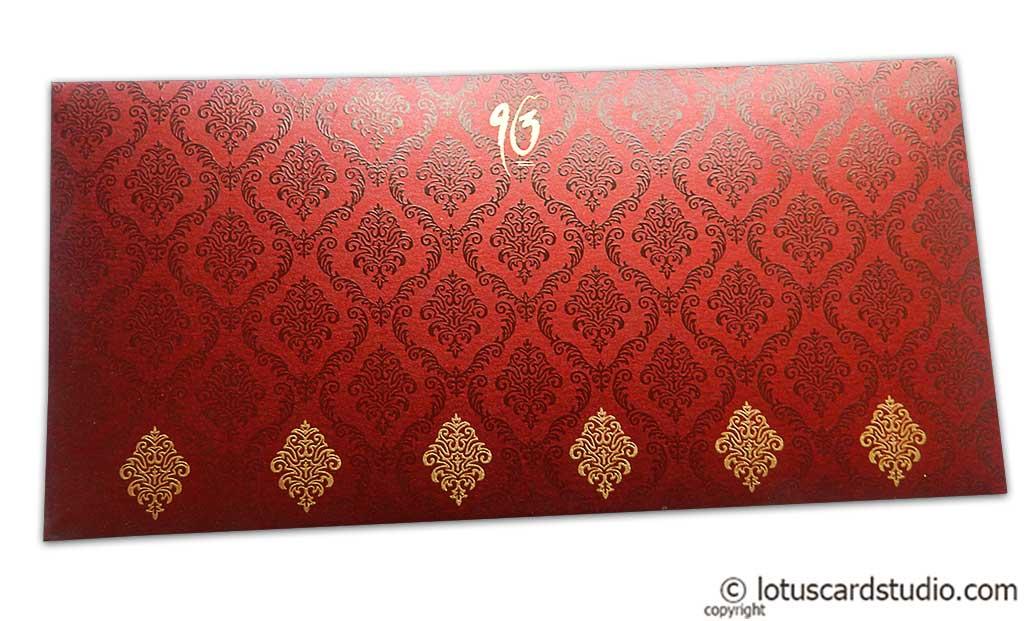 Front view of Damask Pattern Shagun Envelope in Royal Red