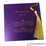 Card back of Dazzling Wedding Invitation Card with Beads Dori