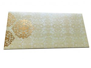 Front view of Shagun Envelope in Ivory with Classy Floral Design