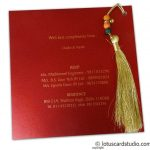 Invite back of Exquisite Sikh Wedding Card with Beads Dori