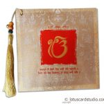Invite front of Exquisite Sikh Wedding Card with Beads Dori