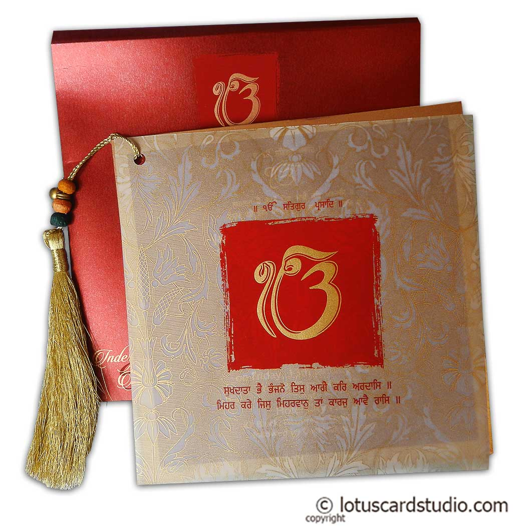 Exquisite Sikh Wedding Card with Beads Dori