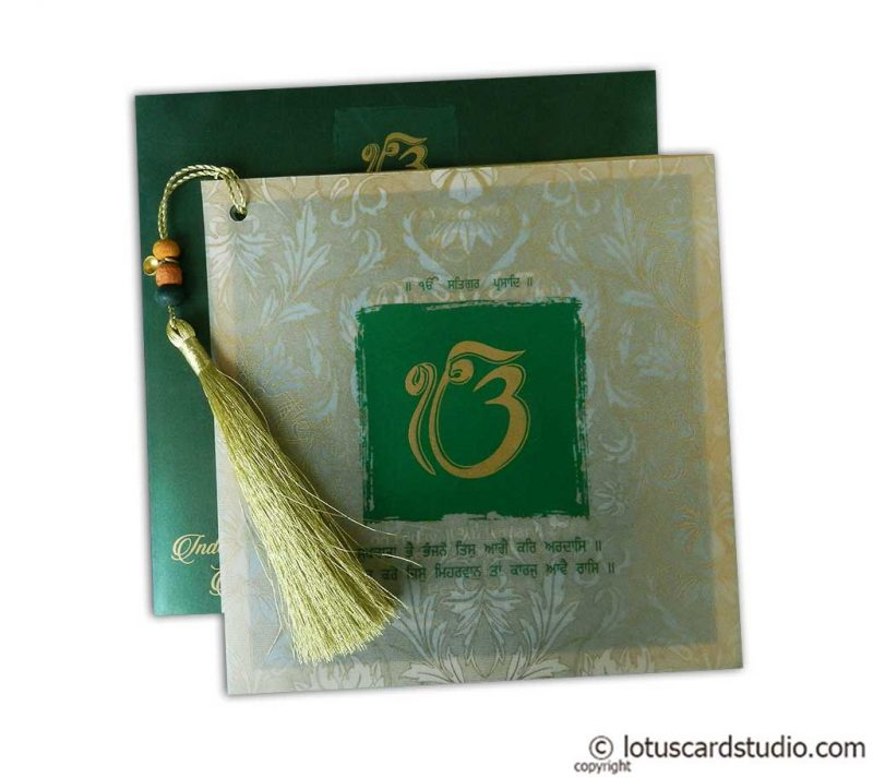Glamorous Green Marriage Card with Beads Dori
