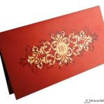 Card of Golden Floral Wedding Invitation