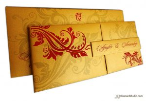 Golden Magnet Dazzling Wedding Invitation Card with Red Florals