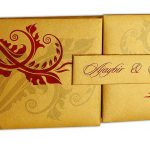 Card front of Golden Magnet Dazzling Wedding Invitation Card with Red Florals