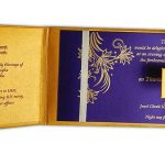 Inside view of Golden Magnet Dazzling Wedding Invitation Card with Red Florals