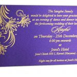 Purple insert of Golden Magnet Dazzling Wedding Invitation Card with Red Florals