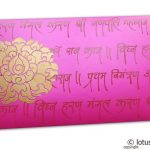 Front view of Shagun Envelope in Mexican Pink with Golden Flower and Ganpati Mantras
