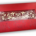 Front view of Exclusive Sized Glossed Shagun Money Envelope in Royal Red