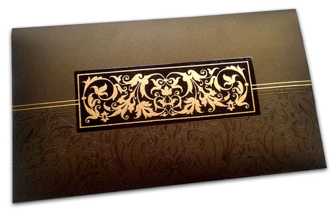Front view of Exclusive Sized Glossed Shagun Money Envelope in Rich Brown