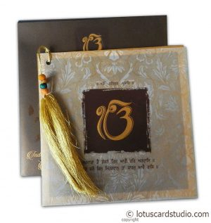 Lavish Golden Brown Wedding Invitation with Beads Dori