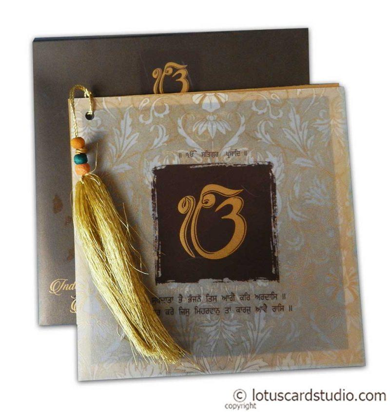 Lavish Golden Brown Wedding Invitation with Beads Dori