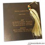 Invite back of Lavish Golden Brown Wedding Invitation with Beads Dori