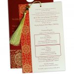 Insert of Magnificent Royal Red Wedding Card with Dori