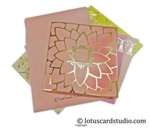 Blooming Peach Golden Lotus Wedding Card