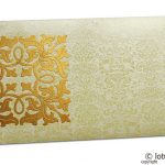 Front view of Wedding Money Envelope in Ivory with Classy Golden Flower