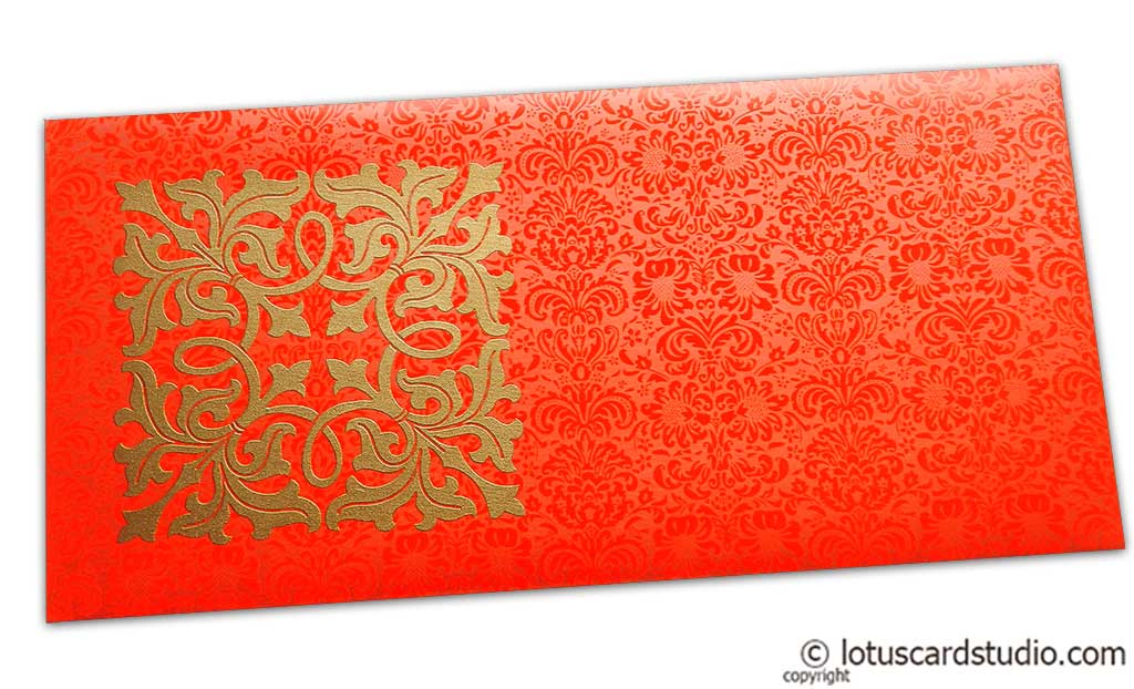Front view of Wedding Money Envelope in Classic Orange with Classy Golden Flower