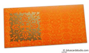 Front view of Wedding Money Envelope in Amber Orange with Classy Golden Flower