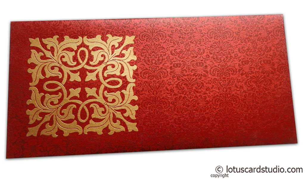 Front view of Wedding Money Envelope in Royal Red with Classy Golden Flower