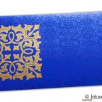 Front view of Wedding Money Envelope in Imperial Blue with Classy Golden Flower