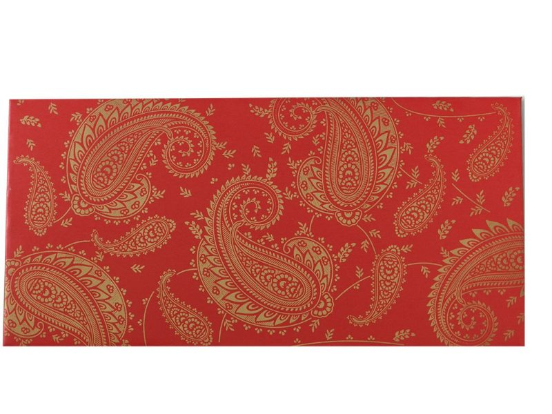 Front view of Gift Money Envelope in Classic Red with Golden Paisley Design