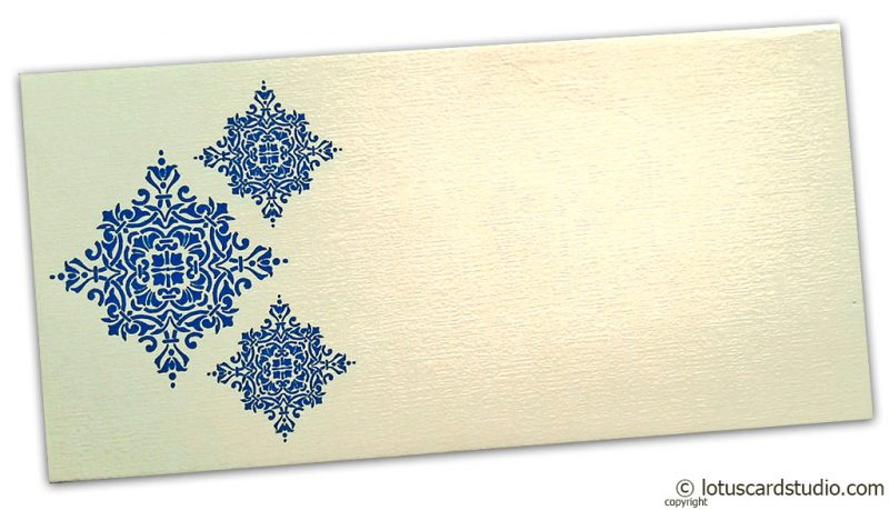 Front view of Gift Envelope in Ivory with Blue Damask Pattern