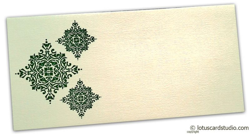 Front view of Gift Envelope in Ivory with Green Damask Pattern