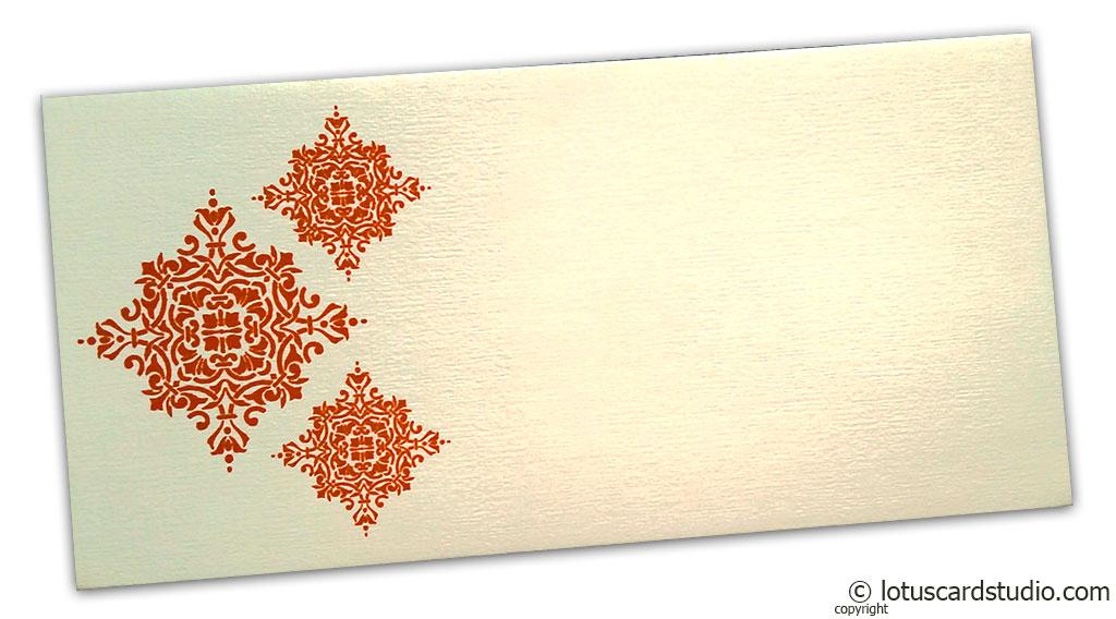 Gift Envelope in Ivory with Orange Damask Pattern