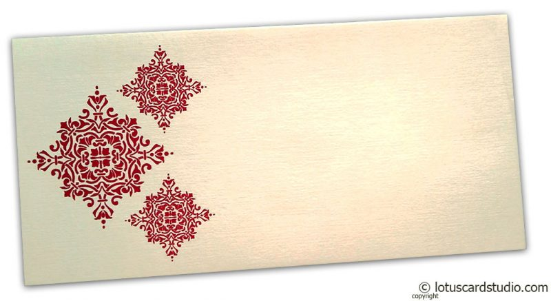 Front view of Gift Envelope in Ivory with Red Damask Pattern
