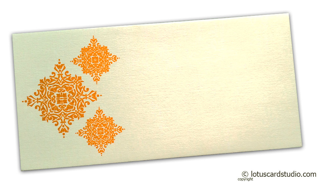 Gift Envelope in Ivory with Yellow Damask Pattern