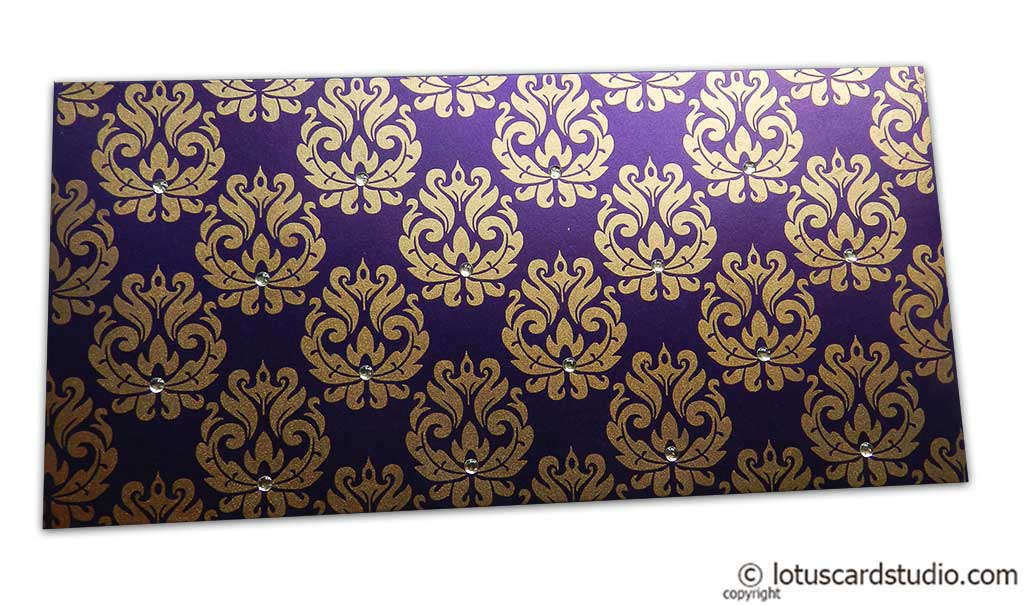 Designer Golden Floral Envelope in Super Indigo