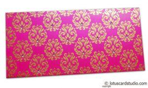 Designer Golden Floral Envelope in Mexican Pink
