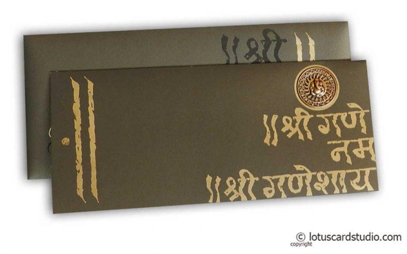 Splendid Hindu Wedding Card with Die Casting Ganesh