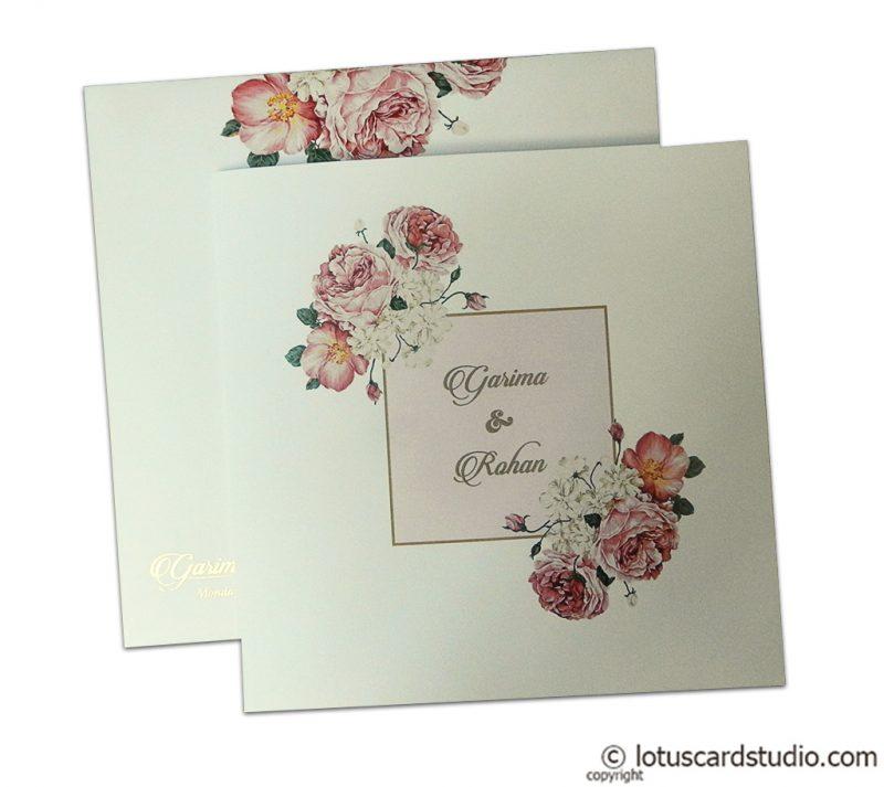 Digital Print Floral Design Wedding Invitation