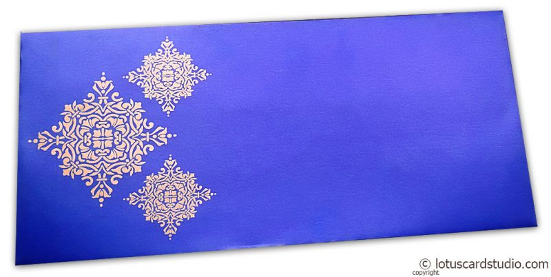 Gift Envelope in Imperial Blue with Golden Damask Pattern
