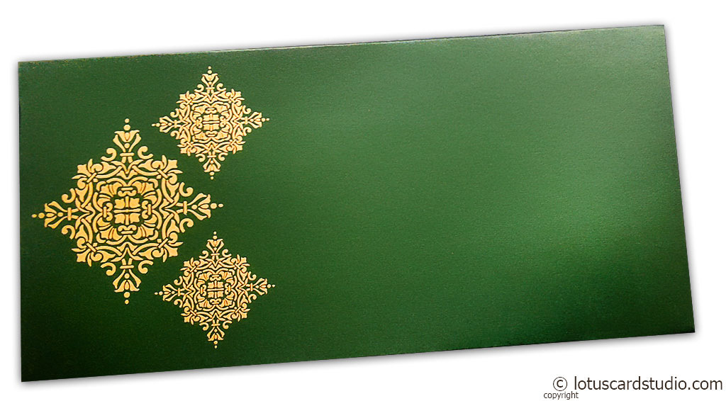 Front view of Gift Envelope in Emerald Green with Golden Damask Pattern
