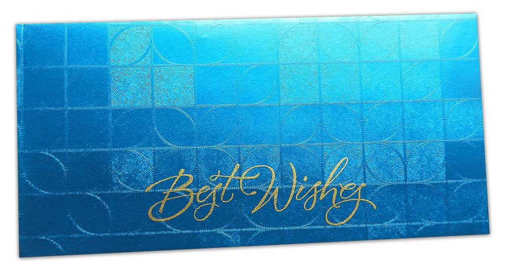 Front view of Money Envelope in Blue with Glossy Finish