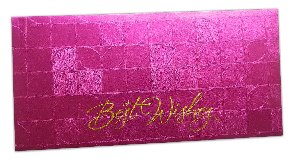 Front view of Money Envelope in Pink with Glossy Finish