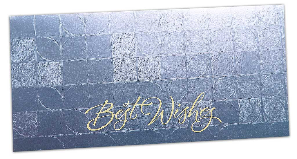 Front view of Money Envelope in Soft Blue with Glossy Finish