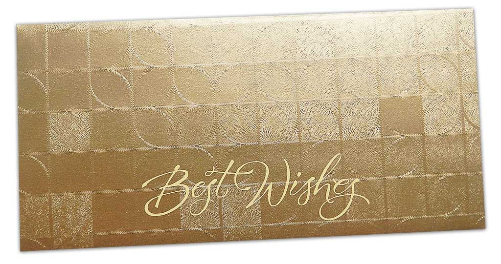 Front view of Gift Envelope With Feather Light Effect in Soft Gold