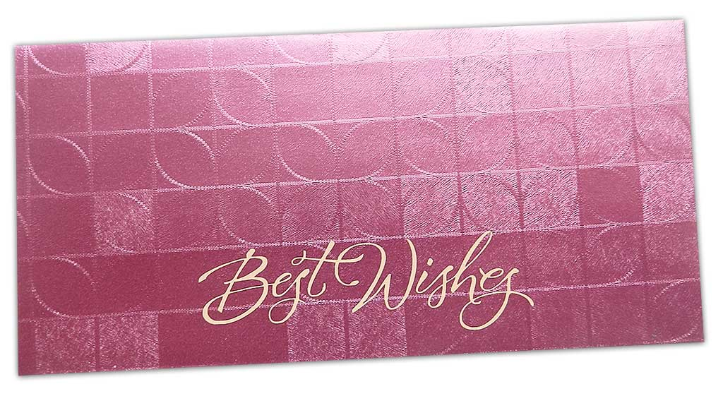 Front view of Money Envelope in Soft Pink with Glossy Finish