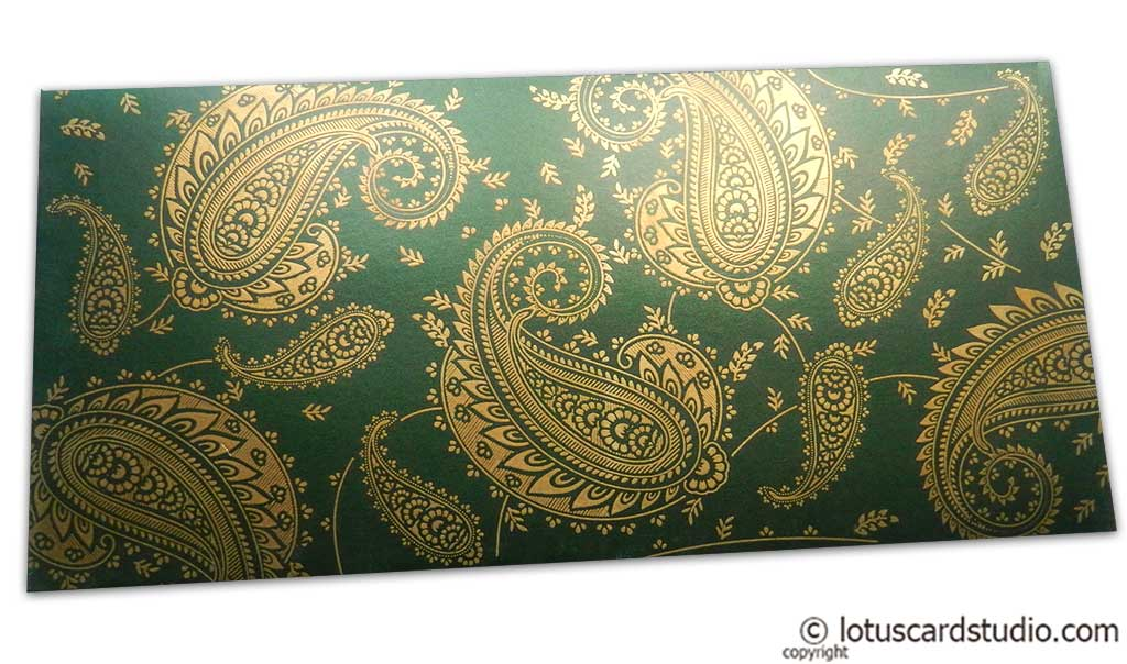 Gift Money Envelope in Emerald Green with Golden Paisley Design