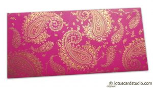 Gift Money Envelope in Mexican Pink with Golden Paisley Design