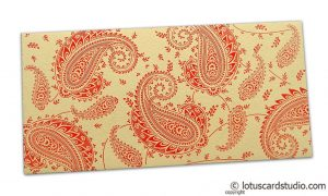 Gift Money Envelope in Bright Beige with Red Paisley Design